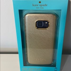 NWT Kate Spade iPhone 7S Gold Leather Case